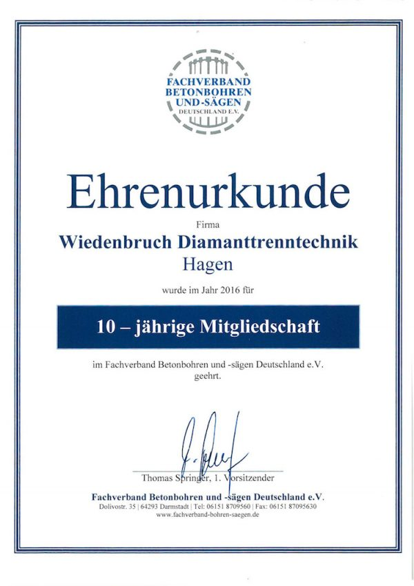 Wiedenbruch Diamanttrenntechnik Abbruch Hagen
